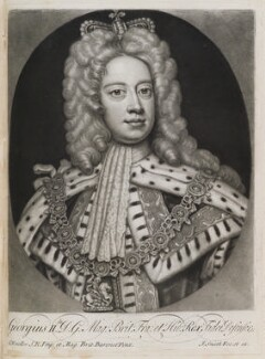 King George II when Prince of Wales, by and published by John Smith, after  Sir Godfrey Kneller, Bt, after 1717, altered after 1727 - NPG D11933 - © National Portrait Gallery, London