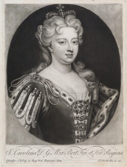 Caroline Wilhelmina of Brandenburg-Ansbach when Queen, by and published by John Smith, after  Sir Godfrey Kneller, Bt, after 1717, altered after 1727 (1716) - NPG D11934 - © National Portrait Gallery, London