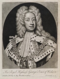 King George II when Prince of Wales, by and published by John Smith, after  Sir Godfrey Kneller, Bt - NPG D11936