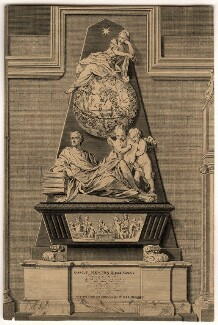 Monument to Sir Isaac Newton in Westminster Abbey, by B. Cole, after  William Kent, and after  John Michael Rysbrack, 1731 or after - NPG D13121 - © National Portrait Gallery, London