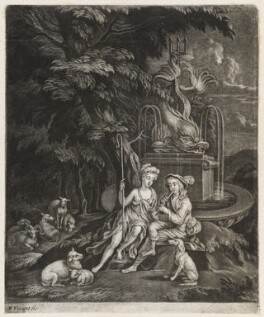 Shepherd and Shepherdess sitting by a fountain, by William Vincent, published by  John Smith - NPG D11812