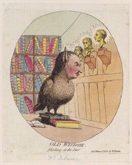 Samuel Johnson ('Old wisdom blinking at the stars'), by James Gillray, published by  W. Rennie, published 10 March 1782 - NPG D12300 - © National Portrait Gallery, London