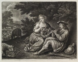 Shepherd and Shepherdess with a Garland, published by John Smith, after  Govaert Flinck - NPG D11852