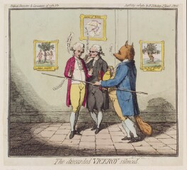 'The discarded viceroy silenced' (Charles James Fox and two others), by James Gillray, published by  Elizabeth d'Achery, published 22 May 1782 - NPG  - © National Portrait Gallery, London