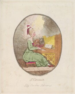 Lady Cecilia Johnston ('St Cecilia'), by James Gillray, published by  Hannah Humphrey, published 24 April 1782 - NPG  - © National Portrait Gallery, London
