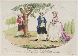 'Paridise regain'd' (King George IV; Charles James Fox; Mary Robinson (née Darby)), probably by James Gillray, published by  J. Langham, published 20 February 1783 - NPG  - © National Portrait Gallery, London