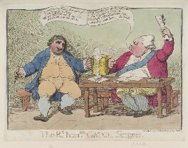 'The Rt Honble catch singers' (Frederick North, 2nd Earl of Guilford; Charles James Fox), by James Gillray, published by  William Humphrey - NPG D12339