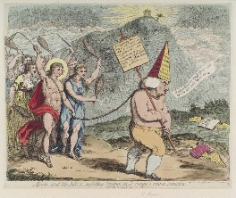 Samuel Johnson ('Apollo and the muses, inflicting penance on Dr Pomposo, round Parnassus'), by James Gillray, published by  William Holland, published 29 July 1783 - NPG D12342 - © National Portrait Gallery, London