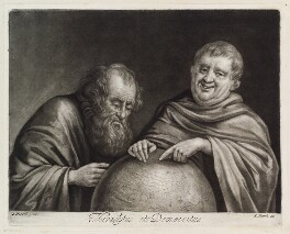 Heraclitus and Democritus, published by John Smith, after  Egbert van Heemskerck the Elder - NPG D11854