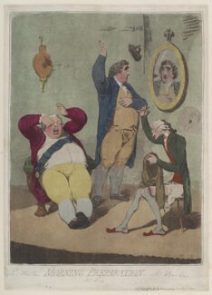 'Morning preparation' (Frederick North, 2nd Earl of Guilford; Charles James Fox; Edmund Burke), by James Gillray, published by  Hannah Humphrey, published 25 February 1785 - NPG  - © National Portrait Gallery, London