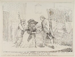 'An exact representation of an attempt made by Margt Nicholson to stab His Majesty on Wednesday Augt 2 1786', by Unknown artist, published by  Samuel William Fores, published 5 August 1786 - NPG  - © National Portrait Gallery, London