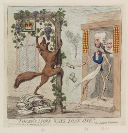 'There's more ways than one' (Charles James Fox; William Pitt; Edward Thurlow, Baron Thurlow), by James Gillray, published by  Hannah Humphrey - NPG D12373