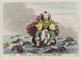 'Blood on thunder fording the Red Sea' (Edward Thurlow, Baron Thurlow; Warren Hastings), by James Gillray, published by  Samuel William Fores - NPG D12374