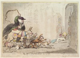 'The Westminster hunt', by James Gillray, published by  Samuel William Fores, published 27 April 1788 - NPG  - © National Portrait Gallery, London