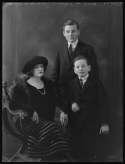Marjorie Blanche Eva Duncombe (née Greville, later Beckett), Countess of Feversham of Ryedale; Charles Duncombe, 3rd Earl of Feversham; Hon. David William Ernest Duncombe, by Bassano Ltd - NPG x36666