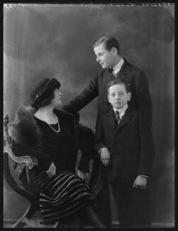 Marjorie Blanche Eva Duncombe (née Greville, later Beckett), Countess of Feversham of Ryedale; Charles Duncombe, 3rd Earl of Feversham; Hon. David William Ernest Duncombe, by Bassano Ltd - NPG x36667