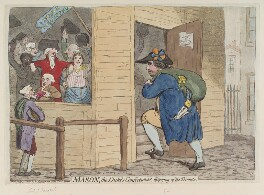 'Mason, the Duke's confectioner, disposing of the trinkets', by James Gillray, published by  Hannah Humphrey, published 21 July 1788 - NPG  - © National Portrait Gallery, London