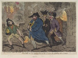 'Blood and co., setting fire to the tower, and stealing the crown', by James Gillray, published by  Hannah Humphrey, published 26 July 1788 - NPG  - © National Portrait Gallery, London