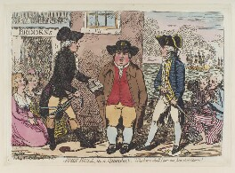 'John Bull, in a quandary' (Lord John Townshend; Samuel Hood, 1st Viscount Hood), by James Gillray, published by  Hannah Humphrey - NPG D12389