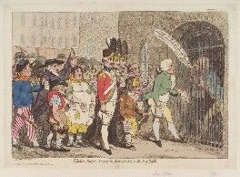 'Election-troops, bring in their accounts, to the pay-table' (Edward Topham; William Pitt), by James Gillray, published by  Hannah Humphrey - NPG D12390