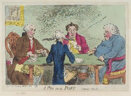 Sir Joseph Mawbey, 1st Bt ('A pig in a poke. Whist, whist'), by James Gillray, published by  Samuel William Fores - NPG D12392