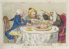 'A dish of mutton-chop's' (William Pitt; Warren Hastings; King George III; Edward Thurlow, Baron Thurlow), by James Gillray, published by  Samuel William Fores - NPG D12393