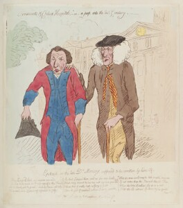 Messenger Monsey ('Ornaments of Chelsea Hospital; - or - a peep into the last century'), by James Gillray, published by  Hannah Humphrey, published 19 January 1789 - NPG  - © National Portrait Gallery, London