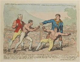 'The battle between Mendoza and Humphrey...' (Daniel Mendoza; Richard Humphries), probably by James Gillray, published by  James Aitken, published 7 May 1789 - NPG D12398 - © National Portrait Gallery, London