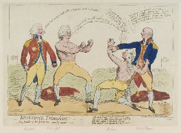'Brunswick triumphant! or - the battle of the blood's, - pure, and contaminated', by James Gillray, published by  James Aitken, published 23 May 1789 - NPG D12400 - © National Portrait Gallery, London