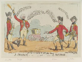 'A scene on Tuesday the 26th of May between a prince - and - a poltron', by James Gillray, published by  James Aitken - NPG D12401