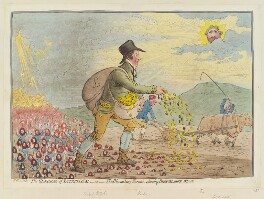'The generae of patriotism, - or - the Bloomsbury farmer, planting Bedfordshire wheat', probably by James Gillray, published by  Hannah Humphrey - NPG D12407