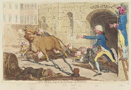 'John-Bull, baited by the dogs of excise', by James Gillray, published by  Hannah Humphrey - NPG D12408