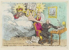 'Smelling out a rat; - or - the atheistical-revolutionist disturbed in his midnight 'calculations'', by James Gillray, published by  Hannah Humphrey - NPG D12411