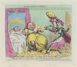 Margaret's ghost' (Elizabeth Gunning; Susannah Gunning (née Minifie); Peg Minifie), by James Gillray, published by  Hannah Humphrey - NPG D12414