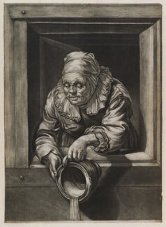 Old Woman Emptying a Chamberpot, possibly published by John Smith, after  Frans van Mieris the Elder - NPG D11950