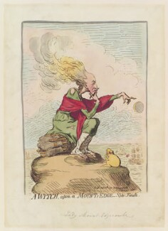 Emma Edgcumbe (née Gilbert), Countess of Mount Edgcumbe ('A witch, upon a mount's edge'), by James Gillray, published by  Hannah Humphrey - NPG D12428