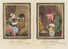 'Frying sprats, toasting muffins' (Charlotte of Mecklenburg-Strelitz; King George III), by James Gillray, published by  Hannah Humphrey - NPG D12433