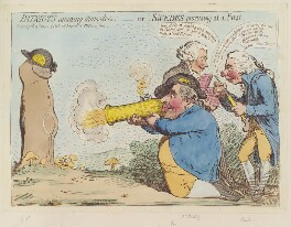 'Patriots amusing themselves; - or - Swedes practising at a post', by James Gillray, published by  Hannah Humphrey - NPG D12449