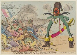 'Austrian bugaboo, funking the French army', by James Gillray, published by  Hannah Humphrey, published 12 May 1792 - NPG  - © National Portrait Gallery, London