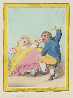 'Spouting' (Elizabeth Bridget Fox (née Cane); Charles James Fox), by James Gillray, published by  Hannah Humphrey - NPG D12453