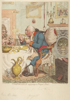 'Temperance enjoying a frugal meal' (Sophia Charlotte of Mecklenburg-Strelitz; King George III), by James Gillray, published by  Hannah Humphrey - NPG D12461
