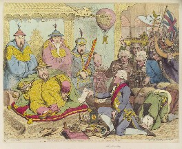 'The reception of the diplomatique and his suite, at the Court of Pekin', by James Gillray, published by  Hannah Humphrey - NPG D12463