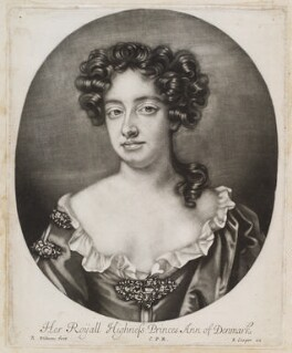 Queen Anne when Princess of Denmark, by Robert Williams, published by  John Smith, circa 1680-1704 - NPG D11967 - © National Portrait Gallery, London