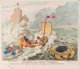'Britannia between Scylla and Charybdis' (Charles James Fox; Joseph Priestley; Richard Brinsley Sheridan; William Pitt; Britannia), by James Gillray, published by  Hannah Humphrey - NPG D12475