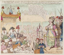 Marie Anne Charlotte Corday d'Armont ('The heroic Charlotte la Cordé, upon her trial...'), by James Gillray, published by  Hannah Humphrey - NPG D12477