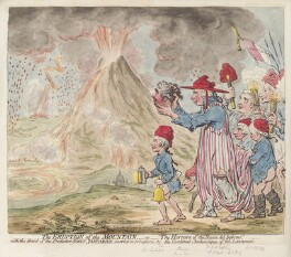 'The eruption of the mountain, - or - the horrors of the 'Bocca del Inferno', by James Gillray, published by  Hannah Humphrey, published 25 July 1794 - NPG D12490 - © National Portrait Gallery, London
