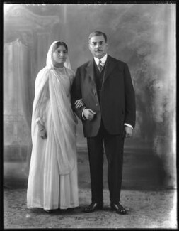 Anees Fatimah (née Karim), Lady Imam; Sir Saiyid Ali Imam, by Bassano Ltd - NPG x120774