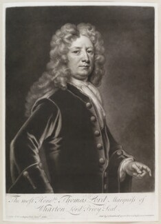 Thomas Wharton, 1st Marquess of Wharton, by and sold by John Smith, after  Sir Godfrey Kneller, Bt, (circa 1710-1715) - NPG D11652 - © National Portrait Gallery, London