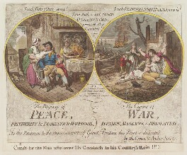 'The blessings of peace, the curses of war', by James Gillray, published by  Hannah Humphrey - NPG D12514