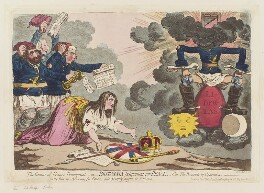 'The genius of France triumphant, - or - Britannia petitioning for peace', by James Gillray, published by  Hannah Humphrey - NPG D12517